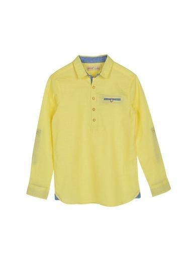 Silversun Kids Erkek Genç Kolları Düğme Detaylı Uzun Kollu Dokuma Gömlek Gc 315396 Sarı
